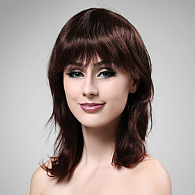 Capless Medium Long 100% Human Hair Deep Wine Hair Wig