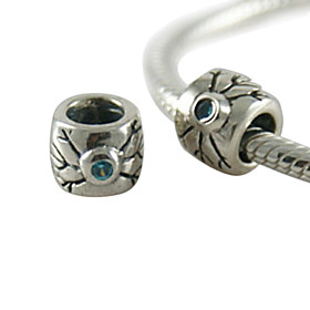 925 Sterling Silver Personality Doodle Partner Beads With Cz Stone(Blue)