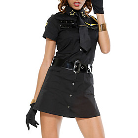 Cool Black Polyester Button-up Mini Dress Police Uniform(3 Pieces)