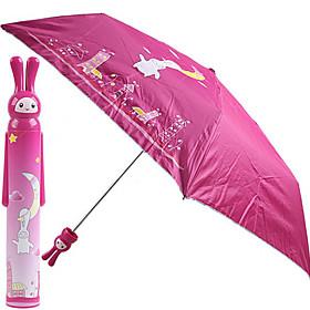 Cute Rabbit Pattern Moon Style Mini Folding Umbrella (Pink)