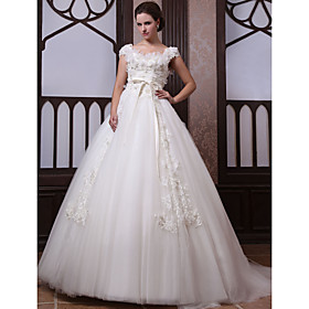 Ball Gown  Scoop Court Train Lace Satin Wedding Dress