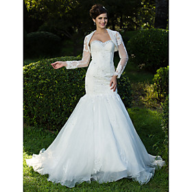 Trumpet/Mermaid Sweetheart Sweep/Brush Train Lace Organza Wedding Dress With A Wrap