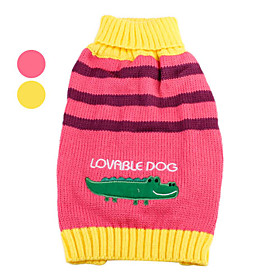 Crocodile Pattern Striped Sweater for Dogs (XS-XL, Assorted Colors)