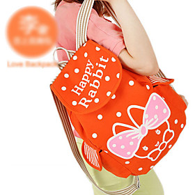 Cute Cartoon Rabbit Decorated Canvas Backpack(28cm 14cm 38cm)