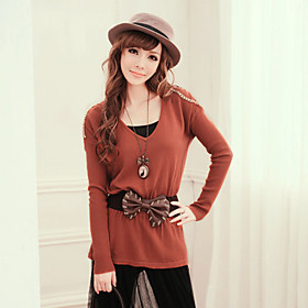 V-neck Long Sleeves Knitwear with Bow Belt