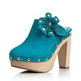 Elegant Leather Chunky Heel Sandals/Platform With Flower Party/Evening Shoes (More Colors)