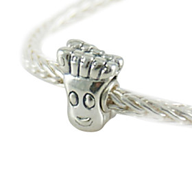 Antique Sterling Silver Beads With Screw Thread(Silver)