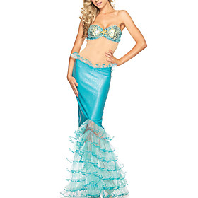 Sea Diva Adult Womens Sexy Mythical Sky blue Mermaid Halloween Costume(3Pieces)