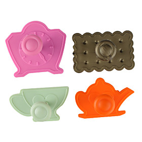 Fondant Cake DIY Decorating 3D Plunger Cutter Tools High Tea Set Theme (Random Color, 4-Pack)