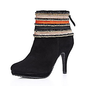 Elegant Leather Stiletto Heel Ankle Boots With Zipper Party/Evening Shoes