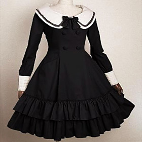 Long Sleeve Knee-length Cotton School Lolita Dress