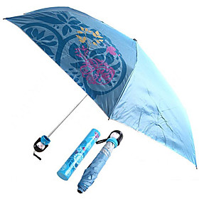 Japanese Doll Style Butterfly and Petal Painting Folding Umbrella (Blue)
