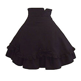 Knee-length Black Cotton Classic Lolita Skirt