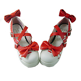 Red and White PU Leather 7.5cm High Heel Sweet Lolita Shoes with Bow