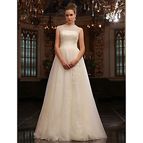 A-line Jewel Sweep/Brush Train Tulle Wedding Dress