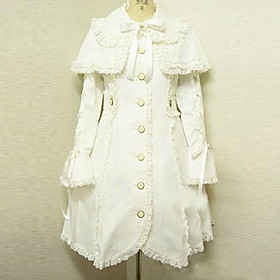 Long Sleeve White Cotton Princess Lolita Coat with Shawl