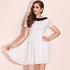 TS Color Block Boat Neckline Dress