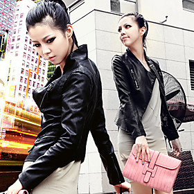 Fashion Slim Stand-collar Short Leather Jacket