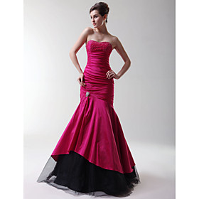 Trumpet/ Mermaid Strapless Sweetheart Floor-length Taffeta Prom/ Evening Dress