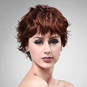 Capless 100% Human Hair Wig Short High Quality Natural Look Dark Aubum Curly Hair Wig