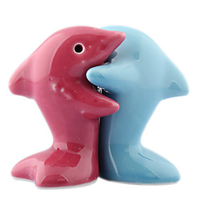 Vintage Dolphin Hugs Spice Bottles (2-Pack, Red and Blue)