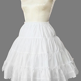 Knee-length Pure White Cotton Princess Lolita Skirt