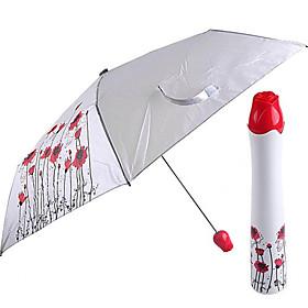 Rose Vase Design Flower Painting Folding Umbrella (Silver)