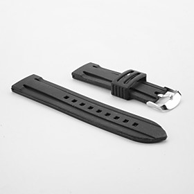 Unisex Rubber Silicon Watch Band 24MM (Black)
