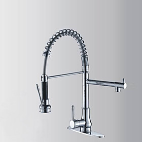 Contemporary Chrome Finish Solid Brass Single Handle Kitchen Faucet