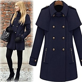Lady Double-breasted Lapel Coat