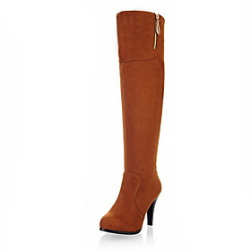 Suede Stiletto Heel Knee High Boots With Zipper Party / Evening Shoes (More Colors)