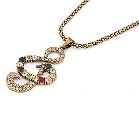 Vintage Music Character Alloy Zircon Necklace