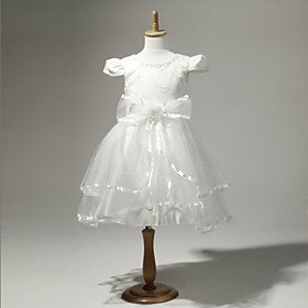 Satin And Tulle Short Sleeves Flower Girl Dress With Flower