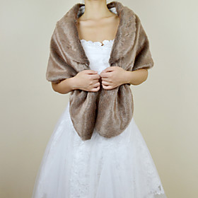 Delicate Faux Fox Fur Party/Evening Shawl/Wrap