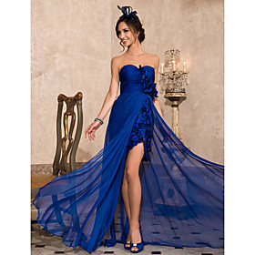 Sheath/ Column Sweetheart Asymmetrical Chiffon Evening Dress