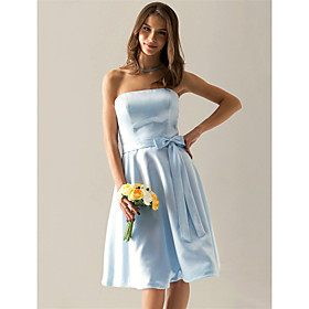 Clearance! A-line Strapless Knee-length Satin Bridesmaid/ Wedding Party Dress