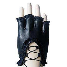 Unique Sheepskin Leather Half Finger Party/Evening Gloves