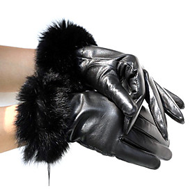 Sheepskin Leather With Rabbit Fur Wrist Length Winter Gloves