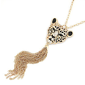 Rose Gold Color Plated Leopard Head Alloy Necklace