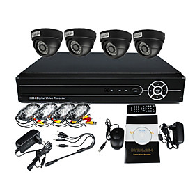 4 Indoor Day Night CCTV Home Video Surveillance Security Camera Kit(H.264 Network,IR 10m)