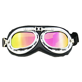 Folding Colored/Transparent Lenses Motorcycle Goggles Glasses with Elastic Strap