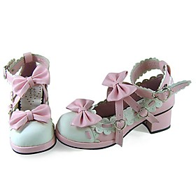 Handmade Pink PU Leather 4.5cm High Heel Sweet Lolita Shoes with Bow