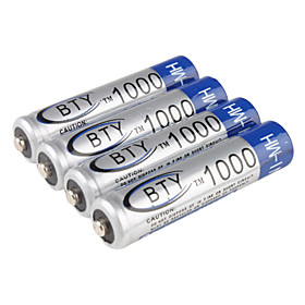 BTY Ni-MH AAA Rechargeable Battery (1.2v, 1000 mAh)