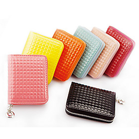 Lady's Leather Check Zipper Clutch(10.2 8.8 2.5CM)