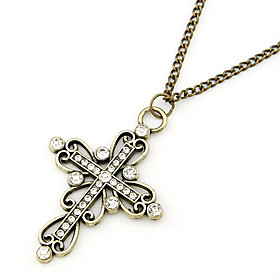 Silver Plated Cross Alloy Zircon Necklace