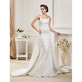 Trumpet/ Mermaid Halter Satin Wedding Dress with Removable Court Train