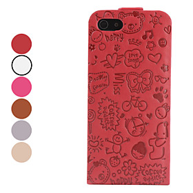 Cartoon Pattern Folding Leather Case for iPhone 5 (Assorted Colors)