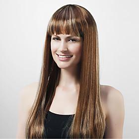 Capless Extra Long High Quality Synthetic Nature Look Coffee With White Straight Hair Wig