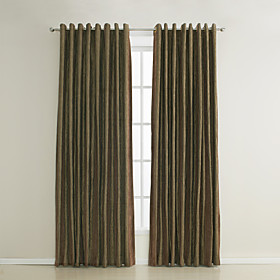 Traditional Stripe Jacquard Energy Saving Curtains (Two Panels)