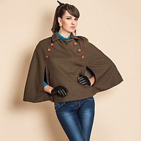 TS Military Style Double Breast Pockets Short Cloak